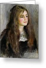 Portrait Of Julie Manet  Greeting Card by Pierre Auguste Renoir
