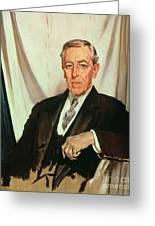 Portrait Of Woodrow Wilson Greeting Card by Sir William Orpen