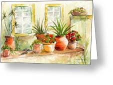 Portuguese Planters Greeting Card by Pat Katz