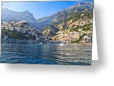 Positano Harbor View Greeting Card by George Oze