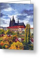 Prague Castle With The Vltava River Greeting Card by Yuriy  Shevchuk