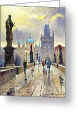 Prague Charles Bridge 02 Greeting Card by Yuriy  Shevchuk