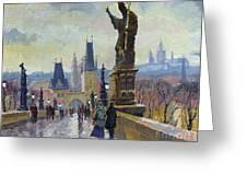 Prague Charles Bridge 04 Greeting Card by Yuriy  Shevchuk