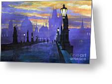 Prague Charles Bridge Sunrise Greeting Card by Yuriy  Shevchuk