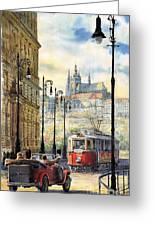 Prague Kaprova Street Greeting Card by Yuriy  Shevchuk