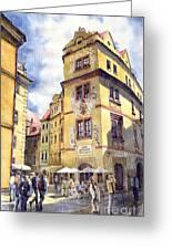 Prague Karlova Street Hotel U Zlate Studny Greeting Card by Yuriy  Shevchuk