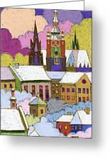 Prague Old Roofs Prague Castle Winter Greeting Card by Yuriy  Shevchuk