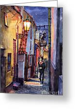 Prague Old Street Golden Line Greeting Card by Yuriy  Shevchuk
