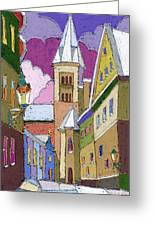 Prague Old Street Jilska Winter Greeting Card by Yuriy  Shevchuk