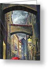 Prague Old Street Love Story Greeting Card by Yuriy  Shevchuk