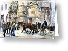 Prague Old Town Square Astronomical Clock or Prague Orloj  Greeting Card by Yuriy  Shevchuk