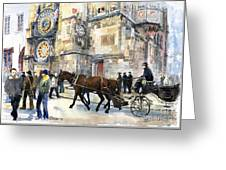 Prague Old Town Square Astronomical Clock Or Prague Orloj  Greeting Card by Yuriy  Shevchuk