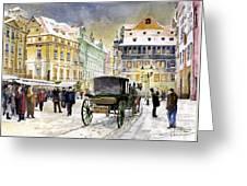 Prague Old Town Square Winter Greeting Card by Yuriy  Shevchuk