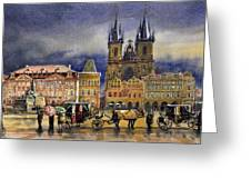 Prague Old Town Squere After rain Greeting Card by Yuriy  Shevchuk