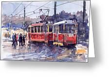 Prague Old Tram 01 Greeting Card by Yuriy  Shevchuk