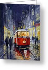 Prague Old Tram 06 Greeting Card by Yuriy  Shevchuk