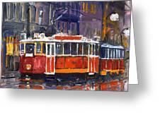 Prague Old Tram 09 Greeting Card by Yuriy  Shevchuk