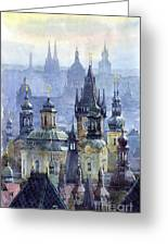 Prague Towers Greeting Card by Yuriy  Shevchuk