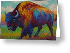 Prairie Muse - Bison Greeting Card by Marion Rose