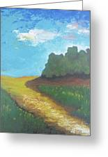 Prairie-original Pallet Knife Painting On Stretched Canvas- 12x12x0.75 Greeting Card by Vesna Antic