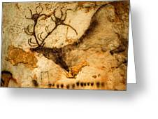 Prehistoric Artists Painted A Red Deer Greeting Card by Sisse Brimberg
