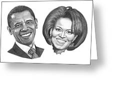 President And First Lady Obama Greeting Card by Murphy Elliott