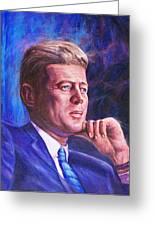 President John F. Kennedy Greeting Card by Ed Breeding