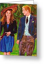 Prince William And Kate The Young Royals Greeting Card by Carole Spandau