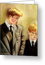 Prince William And Prince Harry Greeting Card by Carole Spandau