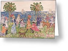 Promenade Greeting Card by Maurice Brazil Prendergast