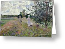 Promenade Near Argenteuil Greeting Card by Claude Monet