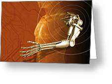Prosthetic Robotic Arm, Computer Artwork Greeting Card by Victor Habbick Visions
