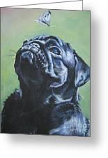 Pug Black Greeting Card by L A Shepard