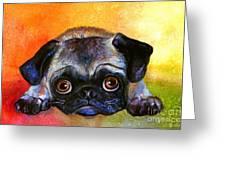 Pug Dog Portrait Painting Greeting Card by Svetlana Novikova
