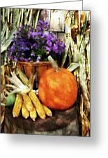 Pumpkin Corn And Asters Greeting Card by Susan Savad