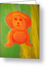 Pupmpkin Head Dog Greeting Card by Laurette Escobar