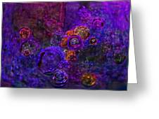 Purple Bubbles Painting Greeting Card by Don  Wright