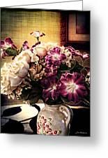 Purple Floral Arrangement Greeting Card by Joan  Minchak