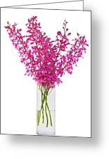 Purple Orchid In Vase Greeting Card by Atiketta Sangasaeng