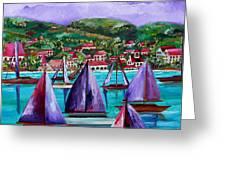 Purple Skies Over St. John Greeting Card by Patti Schermerhorn