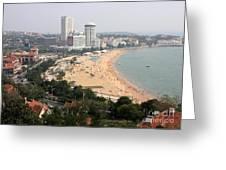 Qingdao Beach With Skyline Greeting Card by Carol Groenen