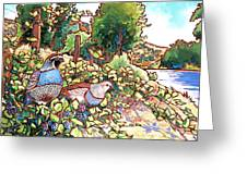 Quails and Blackberries Greeting Card by Nadi Spencer