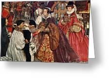 Queen Mary and Princess Elizabeth entering London Greeting Card by John Byam Liston Shaw