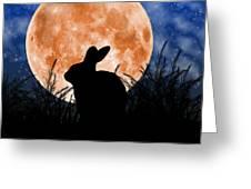 Rabbit Under The Harvest Moon Greeting Card by Elizabeth Alexander