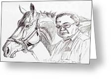 Race horse and owner Greeting Card by Nancy Degan