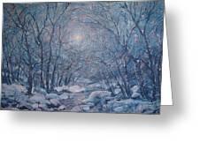 Radiant Snow Scene Greeting Card by Leonard Holland