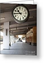 Railway Station Clock Greeting Card by Deyan Georgiev