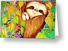 Rain Forest Survival Mother And Baby Three Toed Sloth Greeting Card by Nick Gustafson