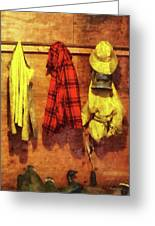 Rain Gear And Red Plaid Jacket Greeting Card by Susan Savad
