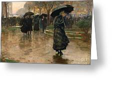 Rain Storm Union Square Greeting Card by Childe Hassam